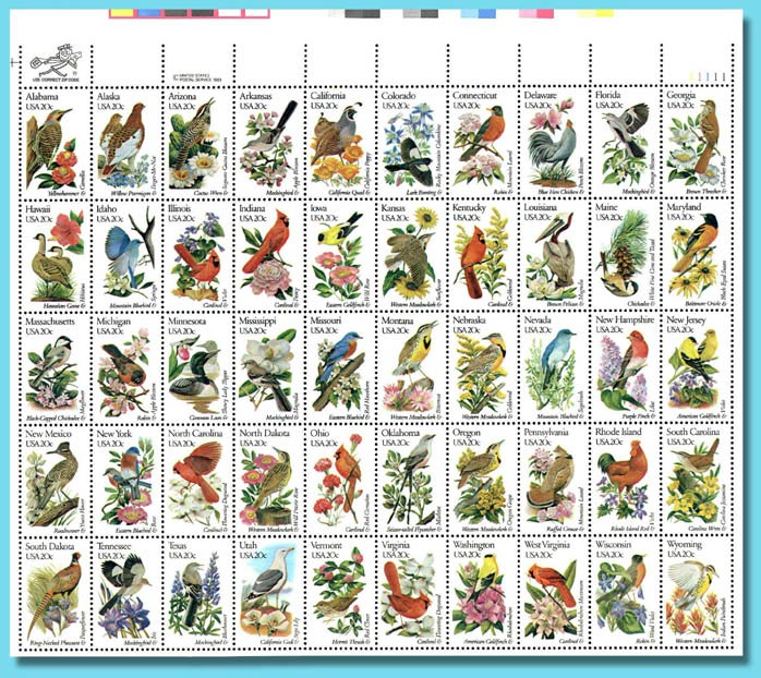Us 50 States Birds And Flowers Stamp